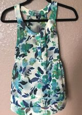 Womens LILY WHITE Green Floral  Sleeveless Casual Spring Shear Blouse ~ Size S