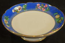 Old Paris Porcelain Mid 19th Century Hand Painted Blue & Floral Compote
