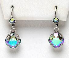 KIRKS FOLLY PRINCESS CRYSTAL LEVERBACK EARRINGS silvertone / paradise shine
