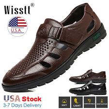 Men Hiking Genuine Leather Sandals Closed Toe Fisherman Lightweight Beach Shoes