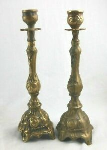 Pair of Rococo Style Antique Pressed Brass Continental Candlesticks Nice Look!
