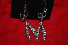 Scissors Drop Dangle  Earrings Silver Tone Clear Crystals Salon Hairdresser Hair