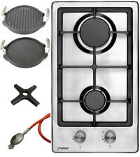 Phoenix Gas Hob Stainless Steel Cooker 2 Lamps + Cast Grill Plate + Herdkreuz