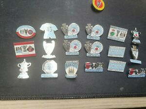 Man City  mixed Pin Badges very rare eithad WEMBLEY citizens champions.