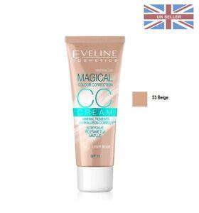 Eveline CC Cream Magical Colour Correction Corrector 53 Beige Hyaluron Face SP15