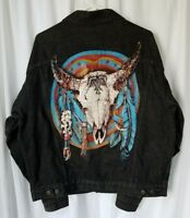 Vintage Marlboro Wild West Denim Jean Jacket  Altered with Patches Mens L