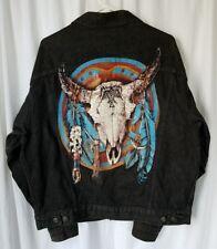 Vintage Marlboro Wild West Denim Jean Jacket  Altered with Patches Mens L