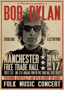 Locandina BOB DYLAN Folk Music Concert Manchester 1966 Folk Rock Country Blues
