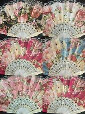 12 x Vintage Inspired Victorian Flower Lace Summer Fan with Gift bag party favor