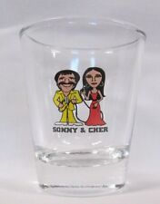 Sonny & Cher Image on Clear Shot Glass