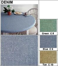 """Tablecloth Bistro 24"""" to 35"""" Elastic Edge Fitted Vinyl Table Cover Tan Denim"""