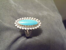 1960s Bell Trading Post Sterling Silver Beaded Turquoise S 5.5 Southwestern Ring