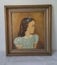Vintage Oil Painting Child in Blue Ribbon Portrait Unsigned