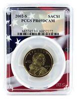 2002 S Sacagawea Dollar PCGS PR69 DCAM Flag Frame