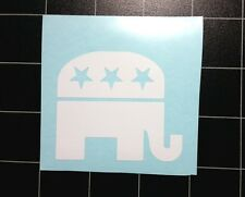 "Republican Party Elephant Gloss White Car Sticker Decal 3"" Wide Facing Right"