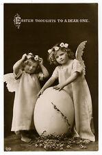 c 1910 Children Kids Fantasy EASTER EGG ANGEL photo postcard