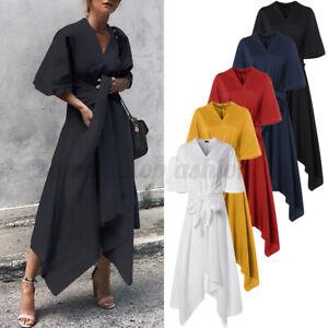 Women Formal Retro Shirt Dress Oversized Casual Long Slip Dress High Waist Dress