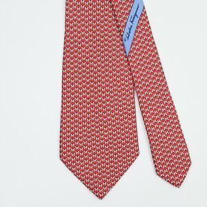 SALVATORE FERRAGAMO TIE Butterfly on Red Classic Silk Necktie