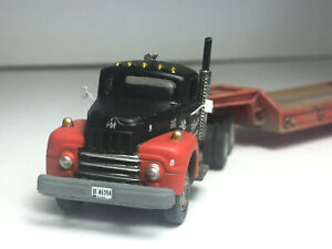 1954 IH R-190 with Lowboy COnstruction Trailer Weathered Hand Detailed HO 1:87