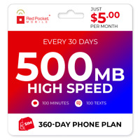 $5/Mo Red Pocket Prepaid Wireless Phone Plan+Kit: 100 Talk 100 Text 500MB