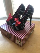 Pin Up Couture Teeze-12 Retro Pumps Sz 9 Black White Polka Dot Womens Shoes