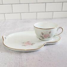 """NORITAKE """"ROSEVILLE"""" 6238 fine china vintage snack plate & cup set"""