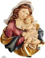 Basrelief Madonna Mit Kind IN Holz Der IN Gröden Geschnitzte Hand CM 14