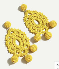 Sold Out! New$49.50 Bright Citron J.Crew Beaded Crochet Statement Earrings!