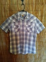 Western Shirt Size Large Pearl Snap Buttons Short Sleeve Grey And White Plaid
