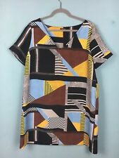 River Island Black Yellow Blue Brown Geometric Shift Mini Dress Size 16 - B41