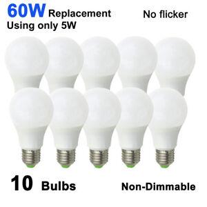 10x E27 A19/A60 LED Light Globe Bulb Lamp 12-24V Lights 60W Equivalent  #T