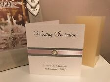 10 Winter Wedding Invitations - Pink & Silver Glitter & Diamante Crystal Pearls