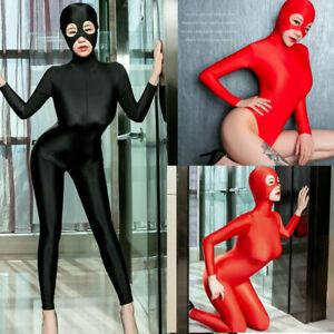 Sexy Womens Hooded Leotard Bodysuit Ultrathin 2-Way Zipper Jumpsuit Clubwear