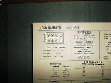 New listing 1960 Rambler Ambassador Series 80 327 Ci V8 Sun Tune Up Chart Great Condition!