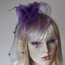 accessoires pour cheveux mauve/lilas Fascinator Voile à pois Parure filet