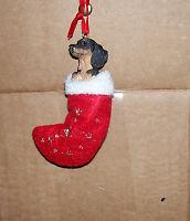 Black/Tan Dachshund Stocking Dog Ornament Christmas