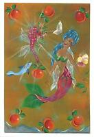 MERMAID NAUTICAL SEAHORSE PEACHES PEACH PANSY HAND SIGNED BY ARTIST PRINT