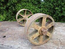 "Antique Factory Mill Cart Wheels & Axle, Heavy Duty, 8.75""dia & 20"" Length"