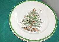 Spode CHRISTMAS TREE & Holly 4  Dinner Plates S3324 Wide Green Rim England