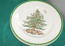 Spode CHRISTMAS TREE Holly 4  Dinner Plates S3324  Green Rim England