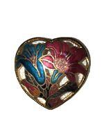 """VINTAGE 1.5"""" 1980s HEART SHAPED GOLD TONE CLOISONNE ENAMEL FLOWER BROOCH PIN"""