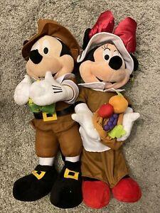 Disney Mickey Mouse & Minnie Thanksgiving Pilgrim Plush Dolls