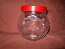 """5"""" Glass TILT JAR Red Plastis lid COOKIE Vintage Style Storage penny Canister"""