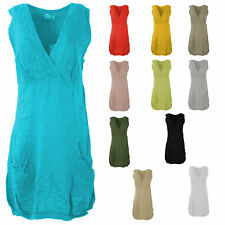 Womens Italian Embroidered Bust Linen Panel Layer Sleeveless Vest Ladies Dress