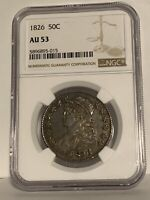 1826 Capped Bust Half Dollar 50C - Certified NGC AU53 - Rare Coin!