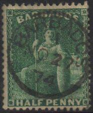 Barbados 1870 1/2d Halfpenny sg 43 Green Britannia used