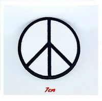 PEACE CND White Embroidered Iron / Sew On Patch Symbol Sign badge