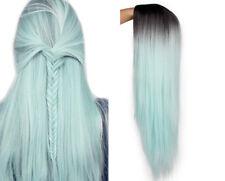 Green Straight Long Synthetic Women Wig 24 inch Color Cosplay J-pop K-pop peluca