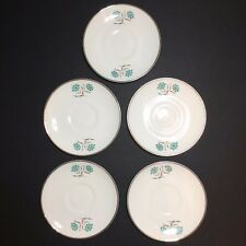 Set of 5 Vintage White Decorative Plates / Saucers With Blue Flower Design 6""