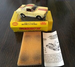 Aurora Vintage Mustang 2+2 Fastback Item #1373 in Pale Yellow & Red Racing Strip